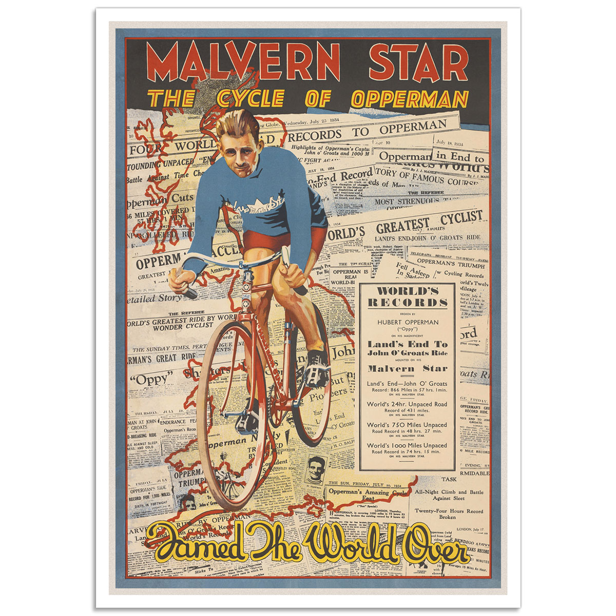 Vintage Advertising Poster - Malvern Star Opperman