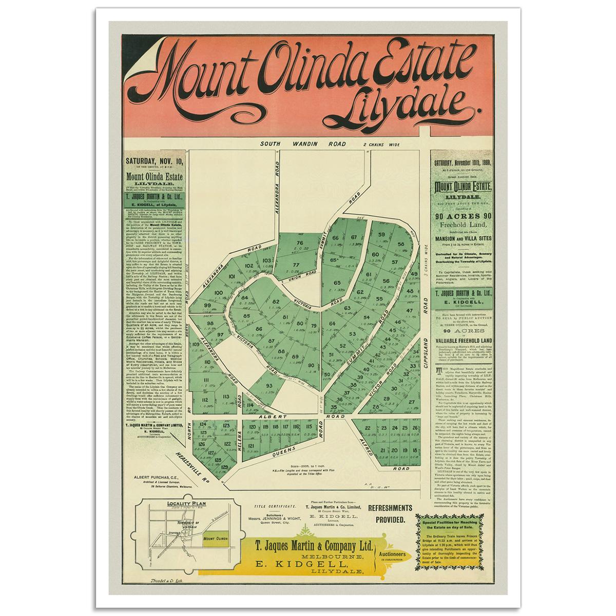 Mount Olinda Estate Lilydale - Vintage Australian Advertising Poster