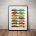 Abstract Art - Multi Coloured Beetles Poster-1