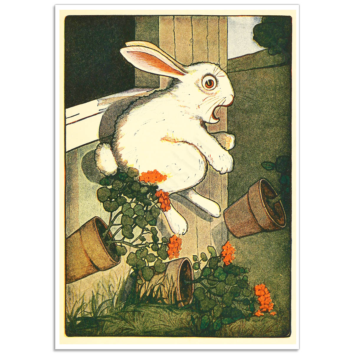 Book Illustration Poster - Peter Rabbit Escapes