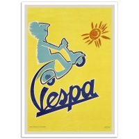 Vintage Italian Promptional Poster - Vespa Scooter