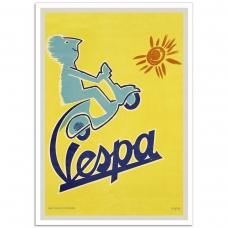 Vintage Italian Promptional Poster - Vespa Scooter