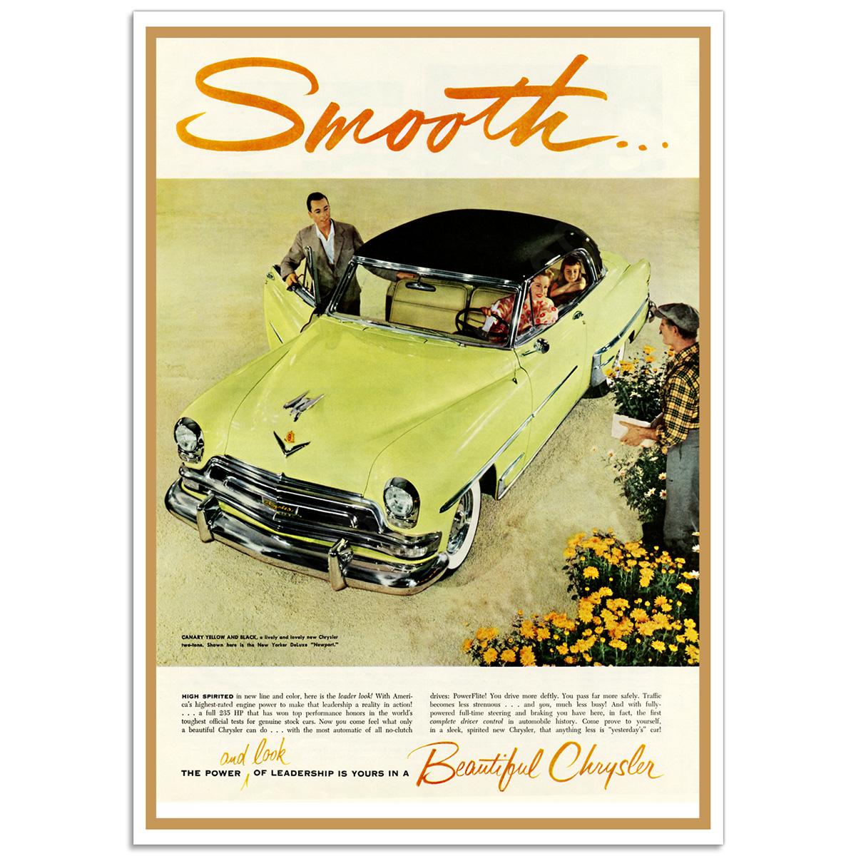 Chrysler Smooth 1954 - Retro Auto Poster