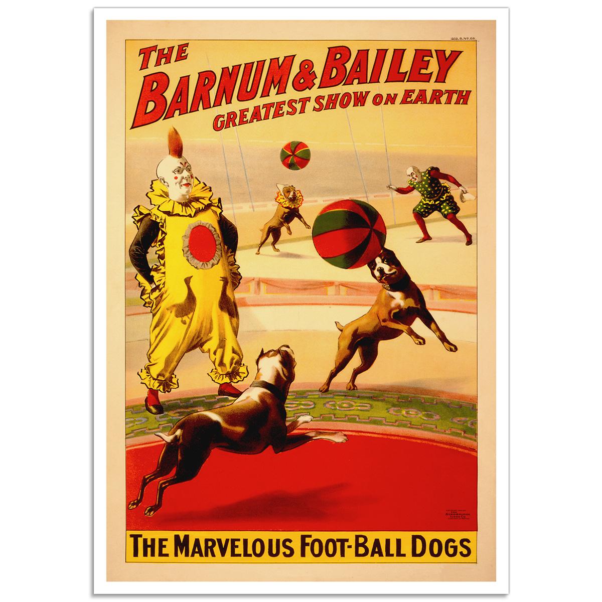 Circus Poster - Barnum & Bailey, The Marvellous Football Dogs