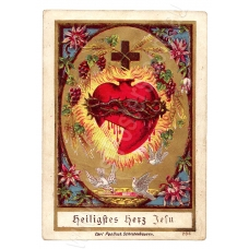 Vintage Religious Illustration - The Sacred Heart of Jesus