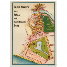Melbourne Map Poster - To the beaches, St. Kilda and Sth Melb