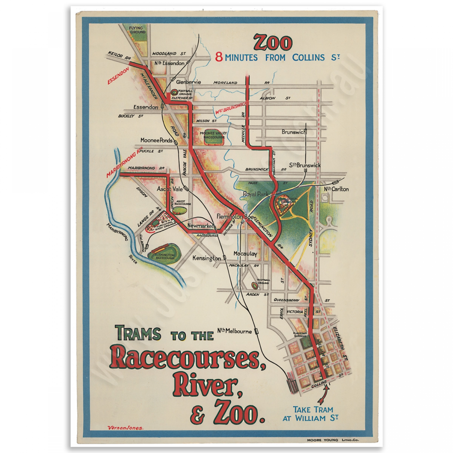 Melbourne Tramway Map Vintage Map Poster Just Posters