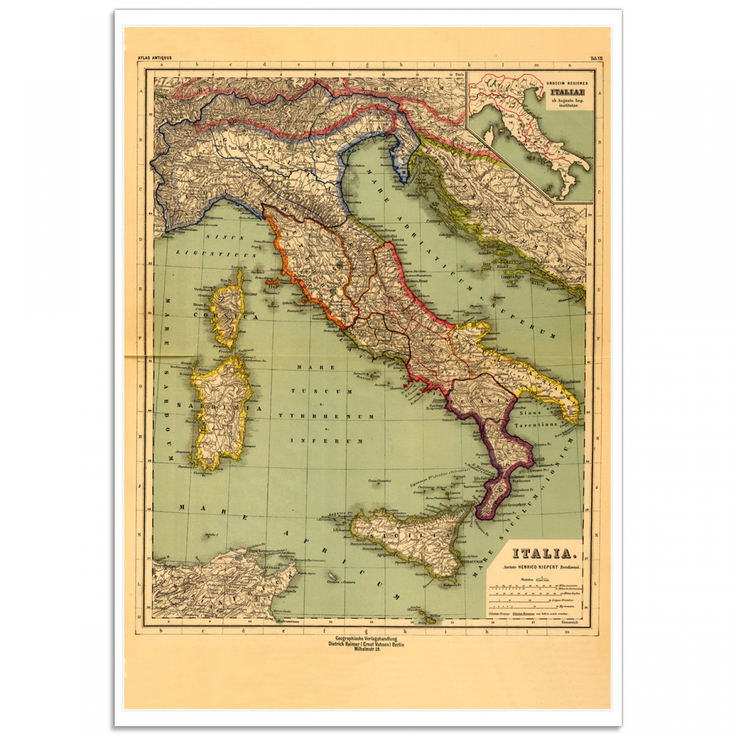 Italy Map 1500.The Eleven Regions Of Italy Rare Vintage Map Just Posters