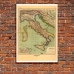 Vintage Map Poster - The Eleven Regions of Italy