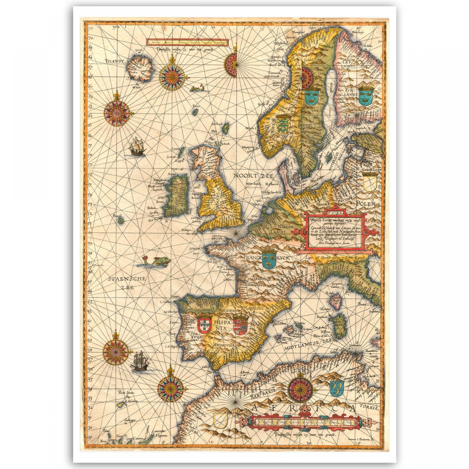 Maritime Europe Rare Vintage Map Poster Just Posters - Vintage europe map poster