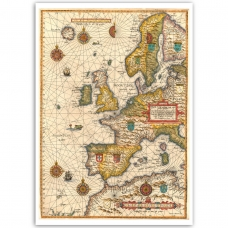 Vintage Map Poster - Maritime Europe 1583