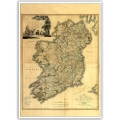 Vintage Map Poster - Memoir of a map of Ireland 1797