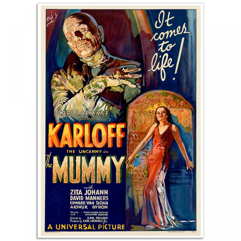 the mummy boris karloff retro movie poster just posters. Black Bedroom Furniture Sets. Home Design Ideas
