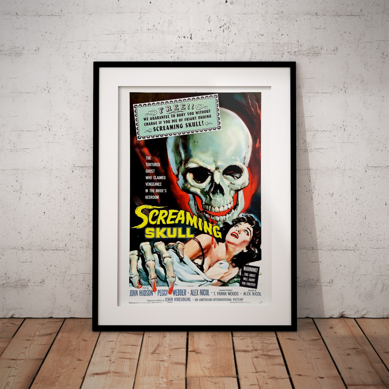 F12 Vintage The Screaming Skull 1950/'s Horror 1950/'s B Movie Poster A3 A2