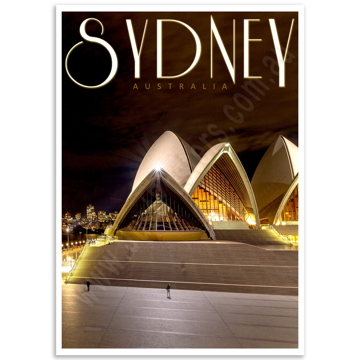 Australian Poster - Sydney Opera House by Night