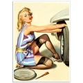 Pinup Girl Poster - Fixing a Flat