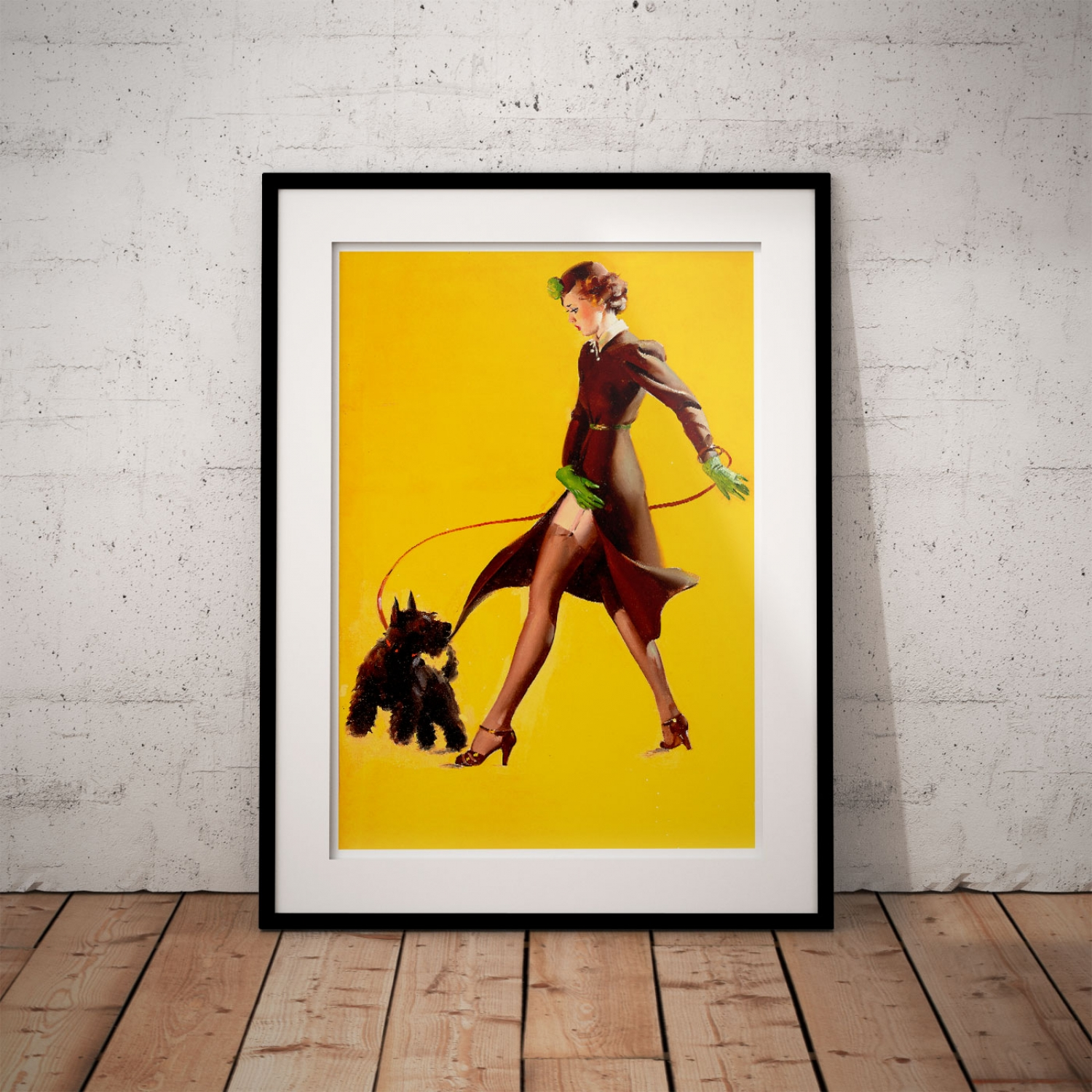 Walking the Dog | Retro Pinup Girl Poster | Just Posters
