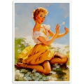 Pinup Girl Poster - Picking the Daisies