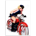 Pinup Girl Poster - On a Motorcycle