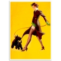 Pinup Girl Poster - Walking the Dog