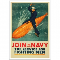 WW1 Recruitment Poster - Join the Navy, for Fighting Men