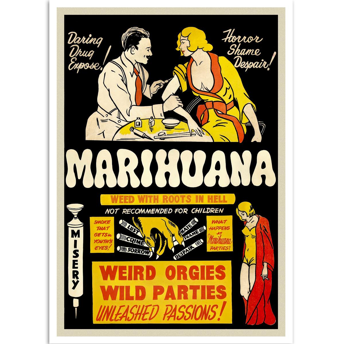 Vintage Propaganda Poster - Marihuana - Root From Hell