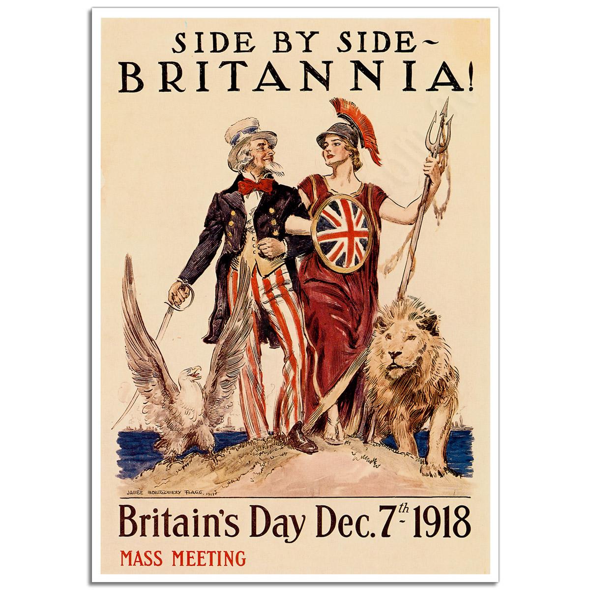 WW1 Poster - Side by Side Britannia