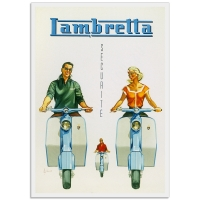 Vintage Italian Promptional Poster - Lambretta Scooter