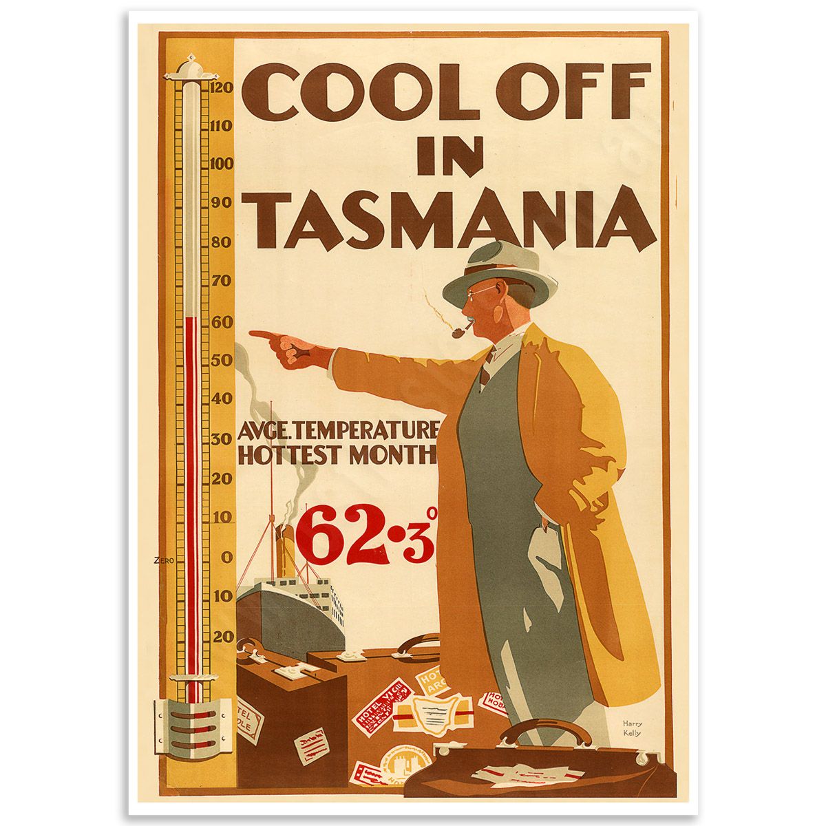 Vintage Travel Poster - Cool off in Tasmania