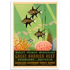 Vintage Travel Poster - World's Wonderland - Great Barrier Reef