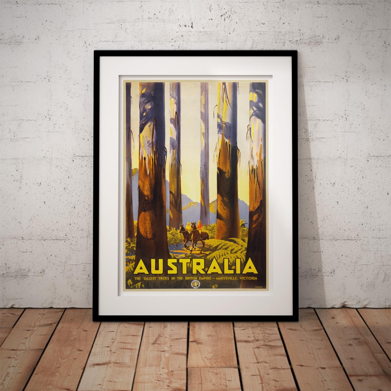 Wall art. poster Australia Reproduction Vintage Travel advert
