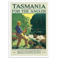 Vintage Travel Poster - Tasmania for the Angler