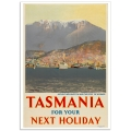 Vintage Travel Poster - Tasmania - Mount Wellington and Port of Hobart
