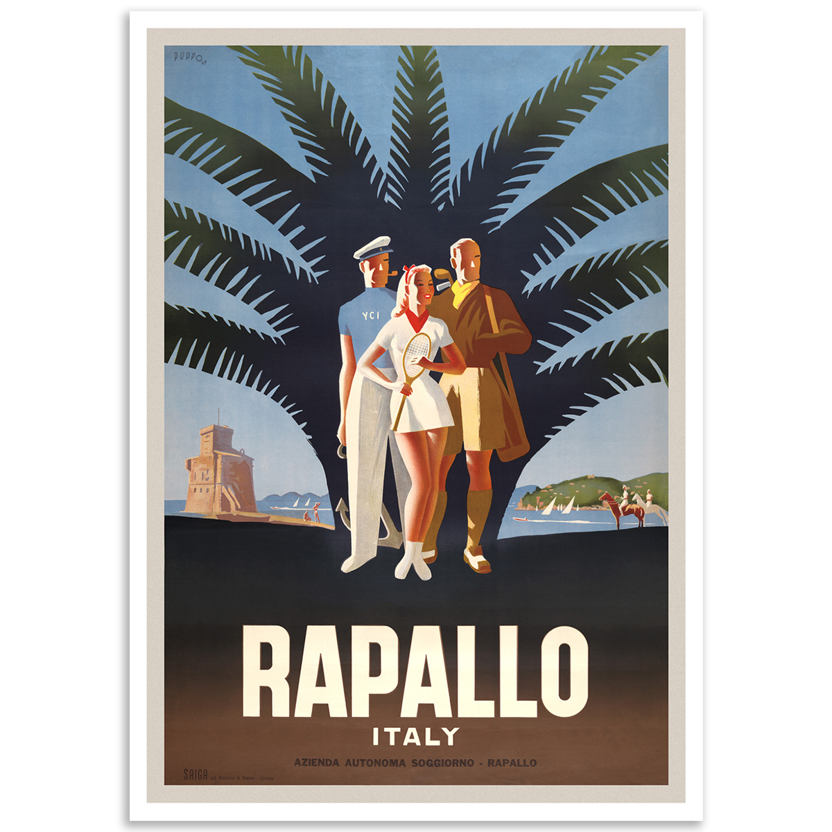 Vintage Travel Poster - Rapallo Italy