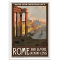 Vintage Travel Poster - Rome par la voie du Mont-Cenis