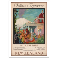 Vintage Travel Poster - New Zealand - Chateau Tongariro