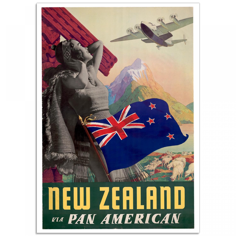 New Zealand Via Pan American Vintage Travel Poster