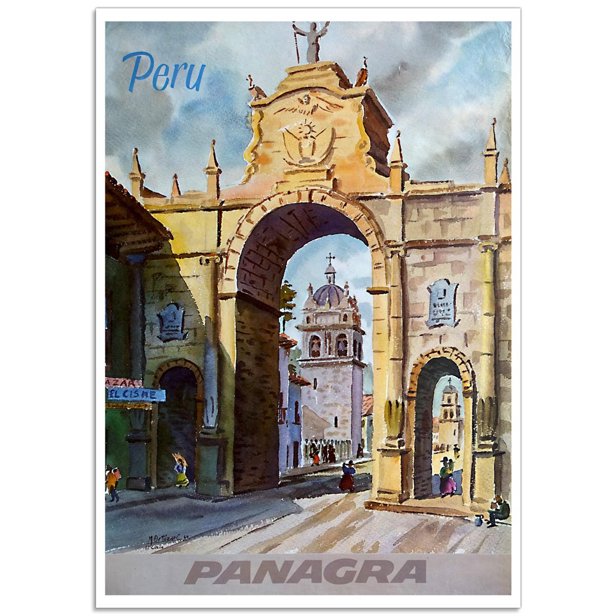 Vintage Travel Poster - Peru, Fly Panagra