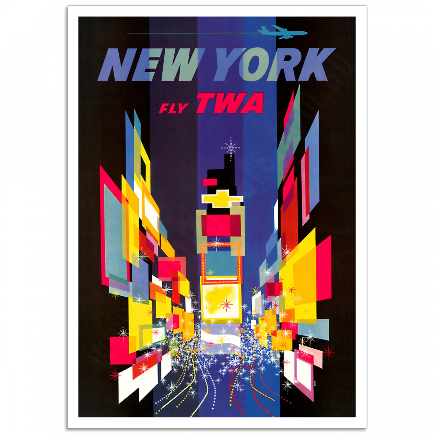twa new york times square vintage travel poster just posters. Black Bedroom Furniture Sets. Home Design Ideas