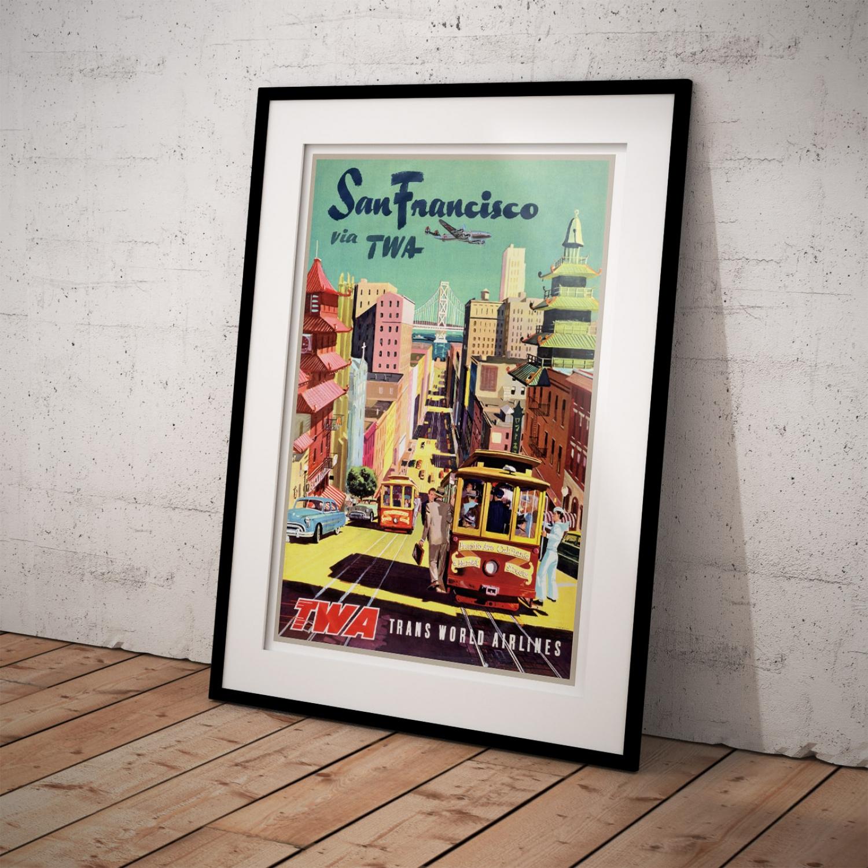 Stockton Auto World >> San Francisco Via TWA | Vintage Travel Poster | Just Posters
