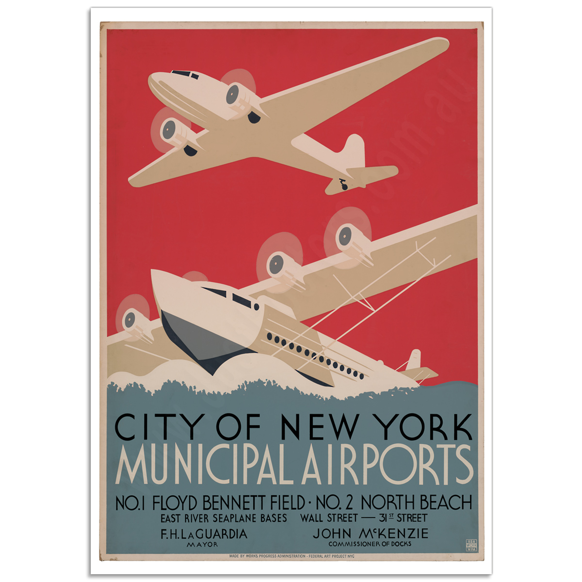 Vintage Travel Poster - NYC Municipal Airports,1937