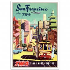 Vintage Travel Poster - San Francisco Via TWA