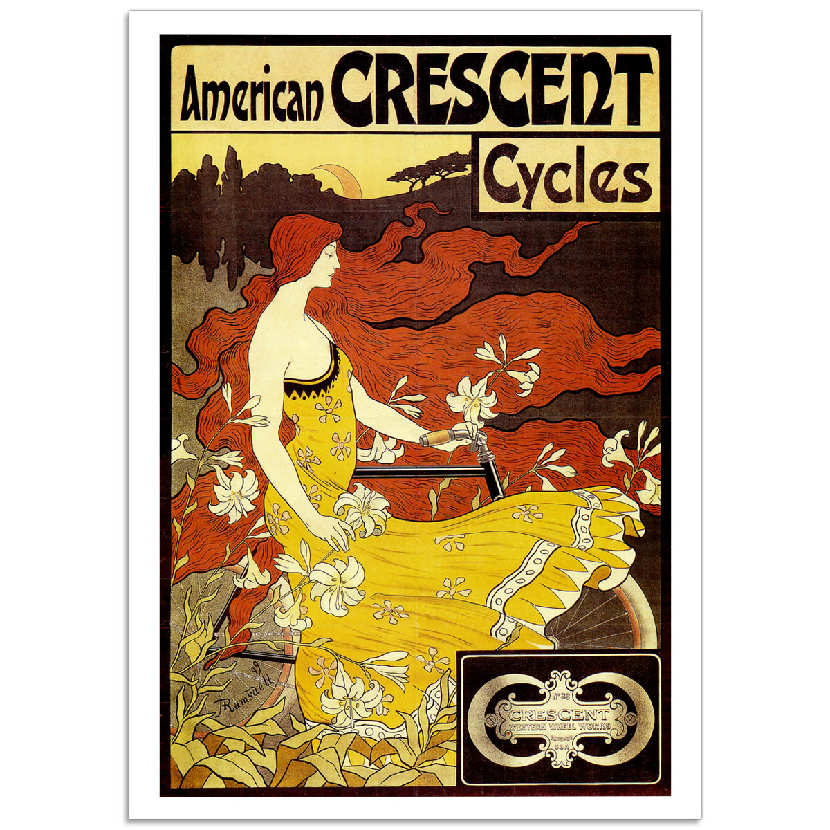 Vintage Bicycle Poster - American Crescent Cycles