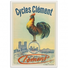 Vintage French Promotional Poster - Cycles Clement Rooster