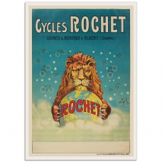 Vintage French Promotional Poster - Cycles Rochet - Lion Globe