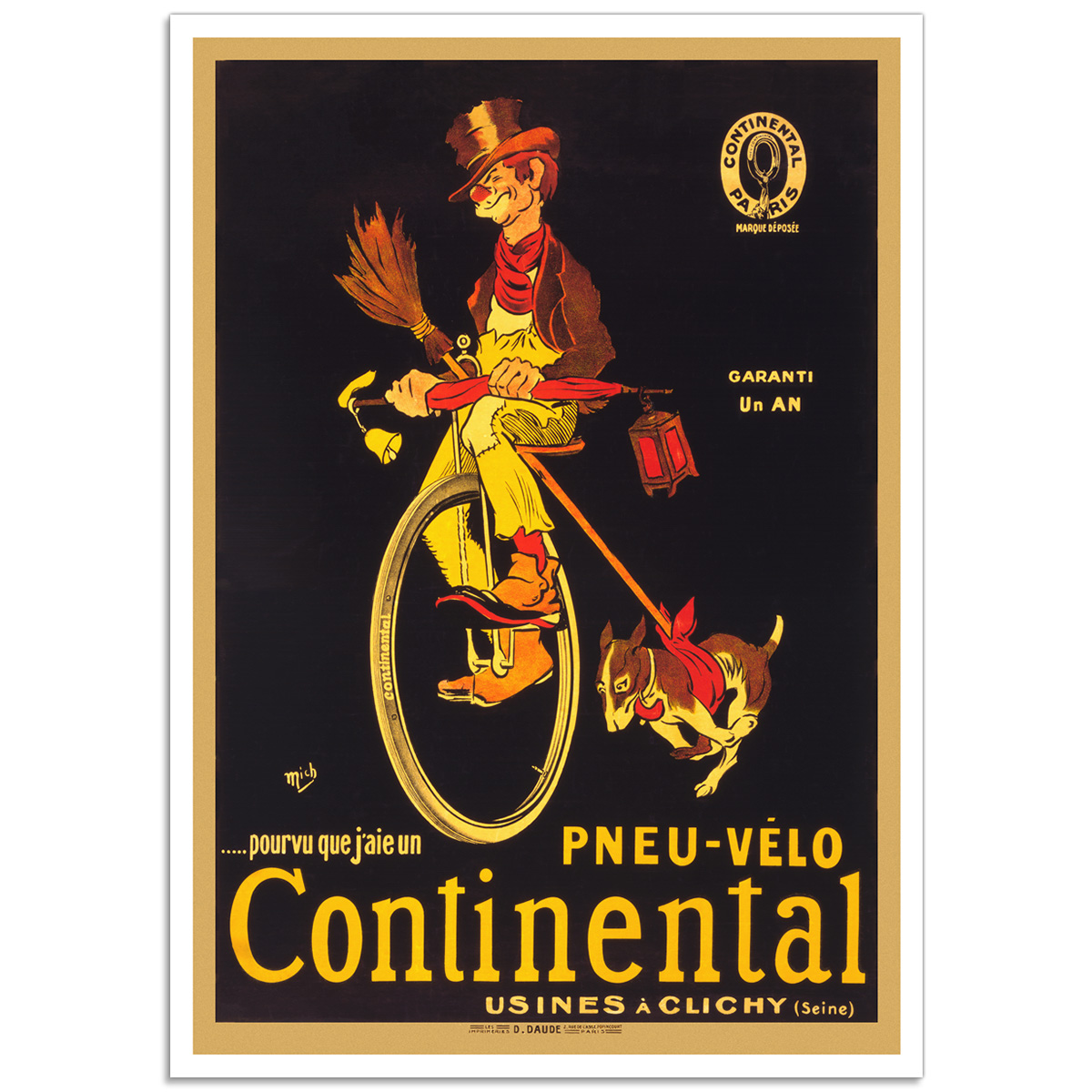 Vintage French Promotional Poster - Pneu-Velo Continental