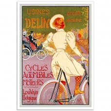 Vintage French Bicycle Poster - Usines Delin Bicycles