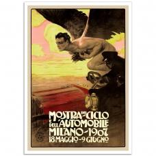 Vintage Italian Promotional Poster - Mostra Del Ciclo Dell'Automobile Milano