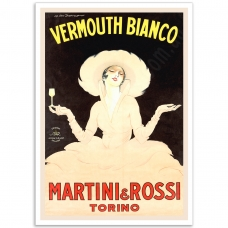 Vintage Italian Promotional Poster - White-Lady Martini Rossi