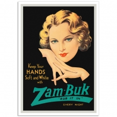 Soft and White with Zam-Buk - Vintage British Showcard Poster